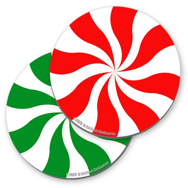 Christams Peppermint Foam Kolorcoat™ Coaster - 4 inch Round