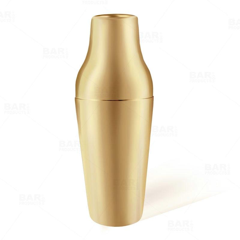BarConic® French Style 2 Piece Cocktail Shaker - Gold Plated - 20oz