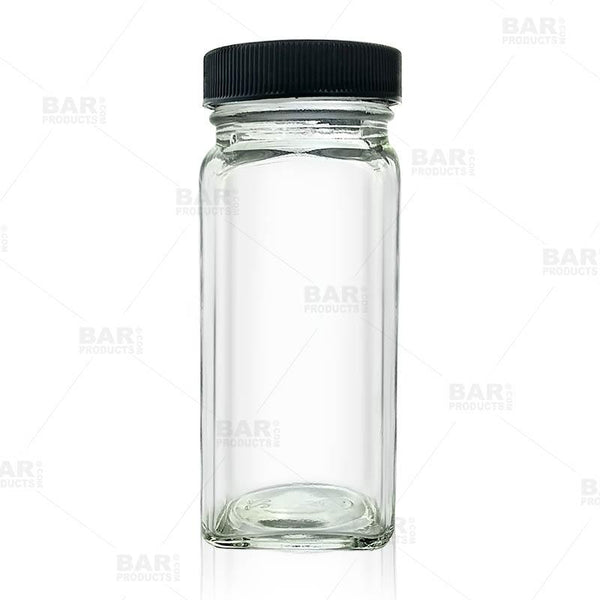French Square Craft Bartending Jar w/ Black Lid - Clear 4oz