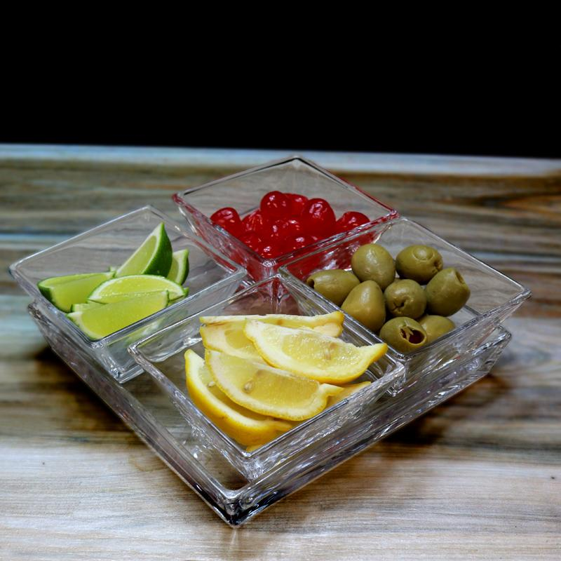 Four Section Glass Condiment Tray