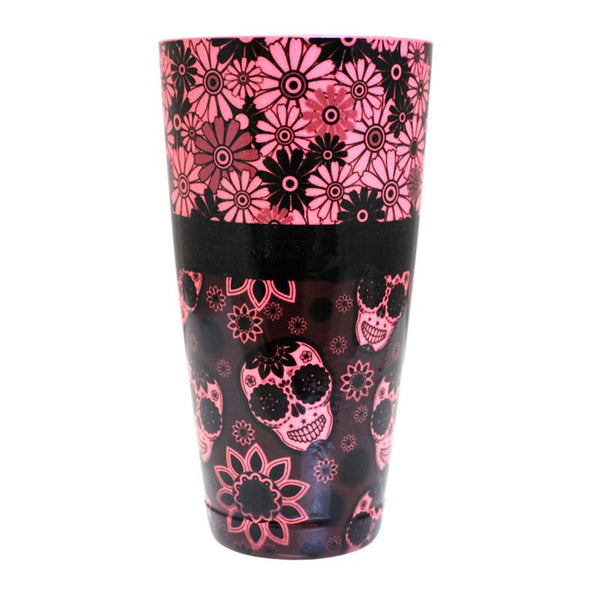 Cocktail Shaker Tin - Printed Designer Series - 28oz weighted - NEON Pink Glitter Floral Skulls