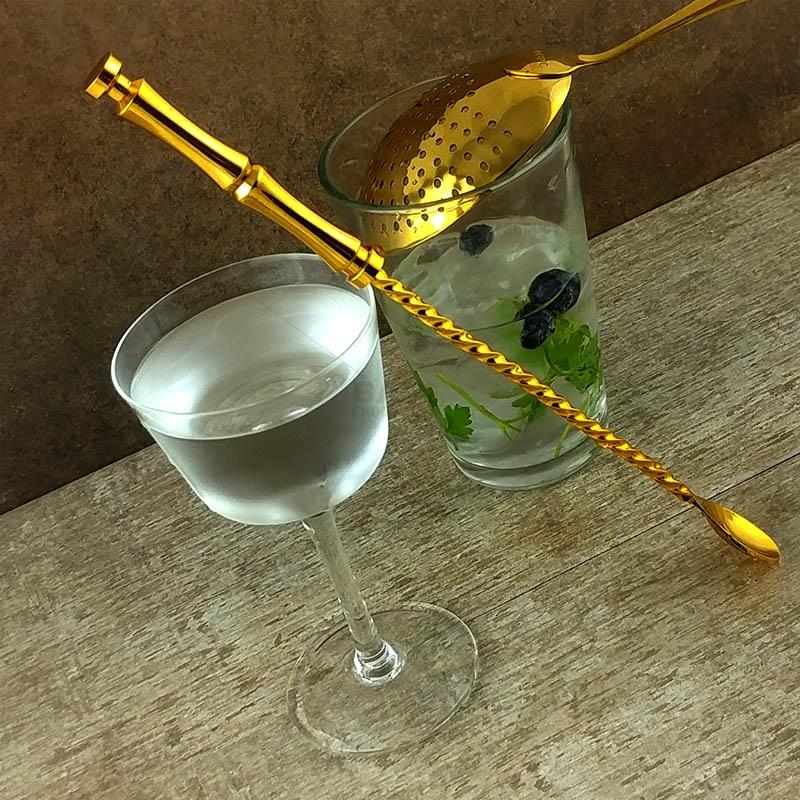 Bamboo Bar Spoon - Gold Plated