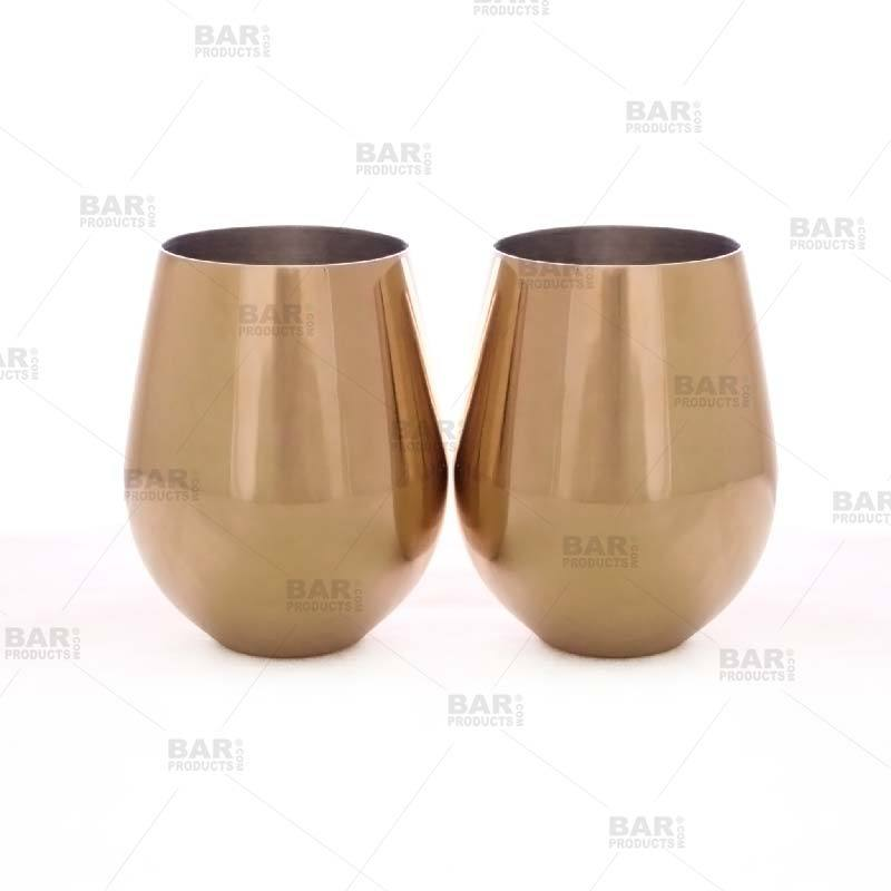 Gold Plated 18 oz Stemless Wine Glass [Pack of 2]