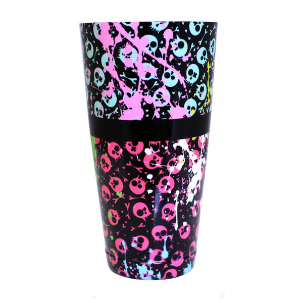 Cocktail Shaker Tin - Printed Designer Series - 28oz weighted - Girly Grunge Splatter Skulls