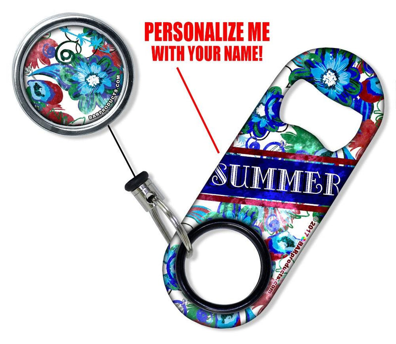 CUSTOMIZABLE Mini Bottle Opener with Retractable Reel - Grungy Floral