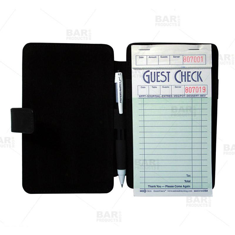 Guest Check Pad Holder - Open and Filled
