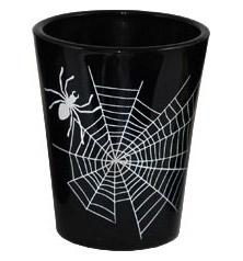 Printed Black Shot Glasses - Halloween Themed - Spider Web