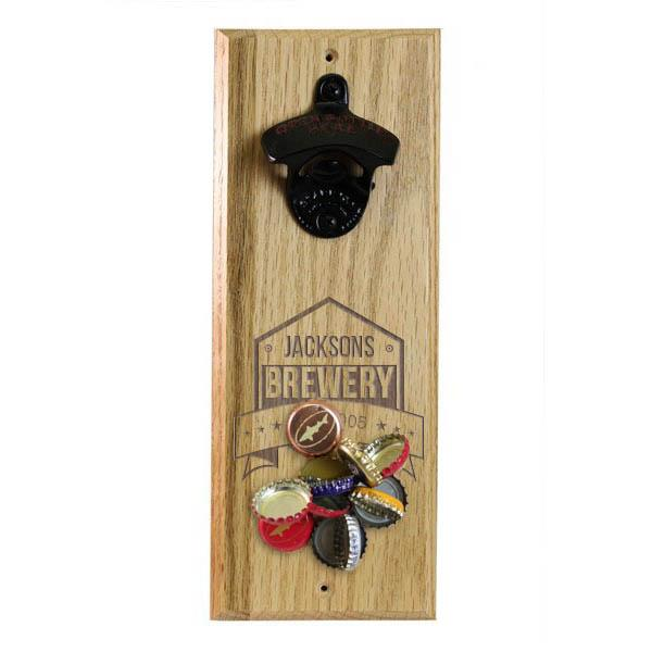 ADD YOUR NAME Brewery Wood Wall Bottle Opener w/ Magnetic Cap Catcher