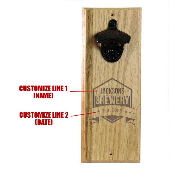 Wooden Wall Bottle Opener w/ Magnetic Cap Catcher - Engraved Brewery