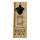 Engraved Man Cave Wooden Wall Bottle Opener w/ Magnetic Cap Catcher - Beer
