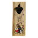 Wooden Wall Bottle Opener w/ Magnetic Cap Catcher - Engraved Man Cave