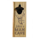 Engraved Man Cave Wooden Wall Bottle Opener w/ Magnetic Cap Catcher - Deer