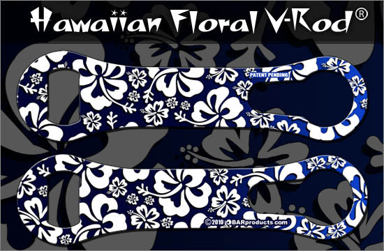 Kolorcoat V-Rod Bottle Opener - Blue and White Hawaiian