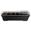 Condiment Holder with (4) 1-Quart Inserts and 2-Quart Fruit Trays - Black