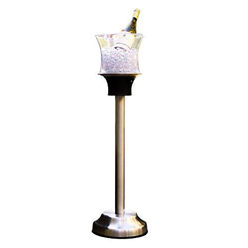 Ice Bucket Wine Bottle Cooler Stand Plus Charging Station - LED