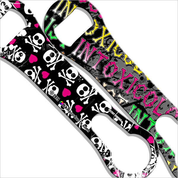 Kolorcoat V-Rod Bottle Opener - Girly Hearts and Skulls