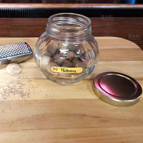 8 oz Faceted Round Glass Jar w/ Lid