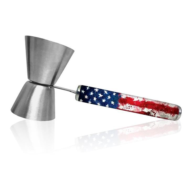 Jigger with Printed Handle Design - U.S. Flag - .75oz x 1.25oz