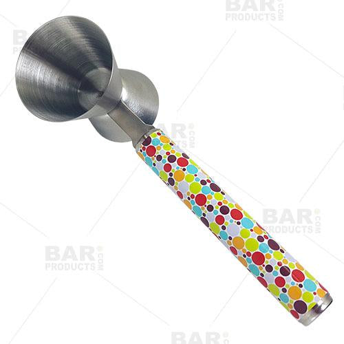 Retro Dots Jigger with Printed Handle Design - .75oz x 1.25oz