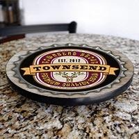 Bottle Cap Wood Lazy Susan - Add Your Name - Size Variations