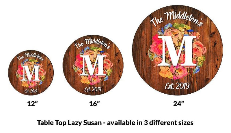 ADD YOUR NAME Lazy Susan - FLORAL WATERCOLOR - 3 Different Sizes - Table Top