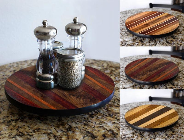 WOOD END GRAIN Lazy Susan - 3 Different Sizes - For Kitchen Table Top