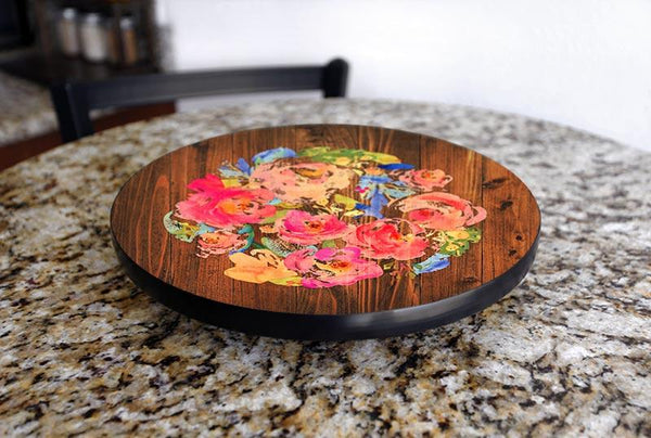 WATERCOLOR FLOWERS Lazy Susan - 3 Different Sizes - For Kitchen Table Top