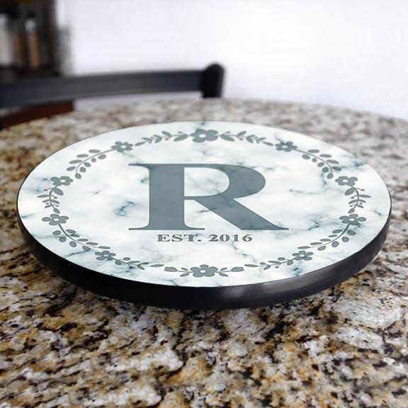 ADD YOUR NAME Lazy Susan - MARBLE MONOGRAM - 3 Different Sizes - Table Top