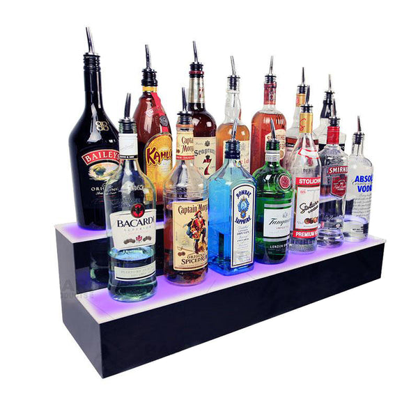 BarConic® LED Liquor Bottle Display Shelf - 2 Step - Multi Colored Lights