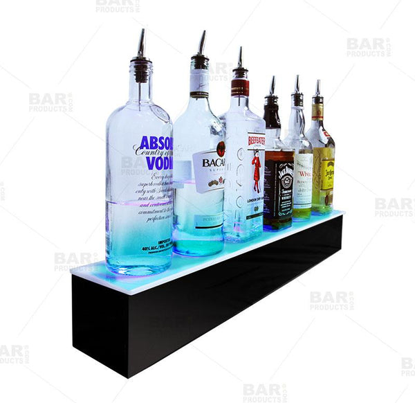BarConic® LED Liquor Bottle Display Shelf - Black 1 Step - Multi Colored Lights - Several Lengths