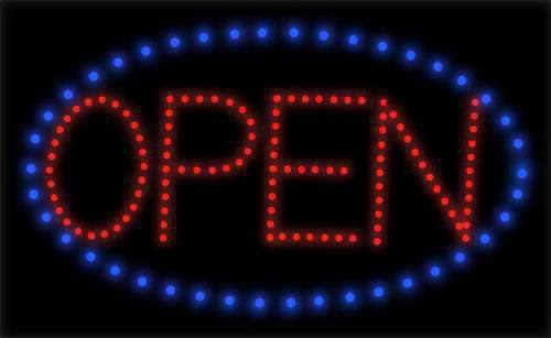 OPEN LED Sign - Red Letters, Blue Circle