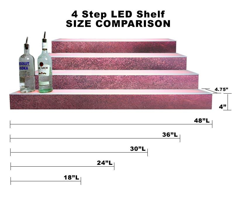 BarConic® LED Liquor Bottle Display Shelf - 4 Steps - Aged Bronze - Several Lengths