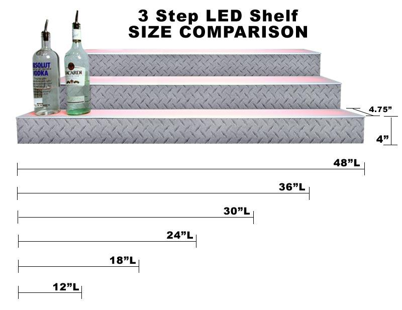 BarConic® LED Liquor Bottle Display Shelf - 3 Steps - Diamond Plate Print - Several Lengths