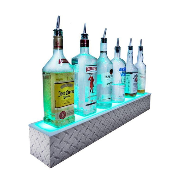 BarConic® LED Liquor Bottle Display Shelf - Diamond Plate Print 1 Step - Several Lengths