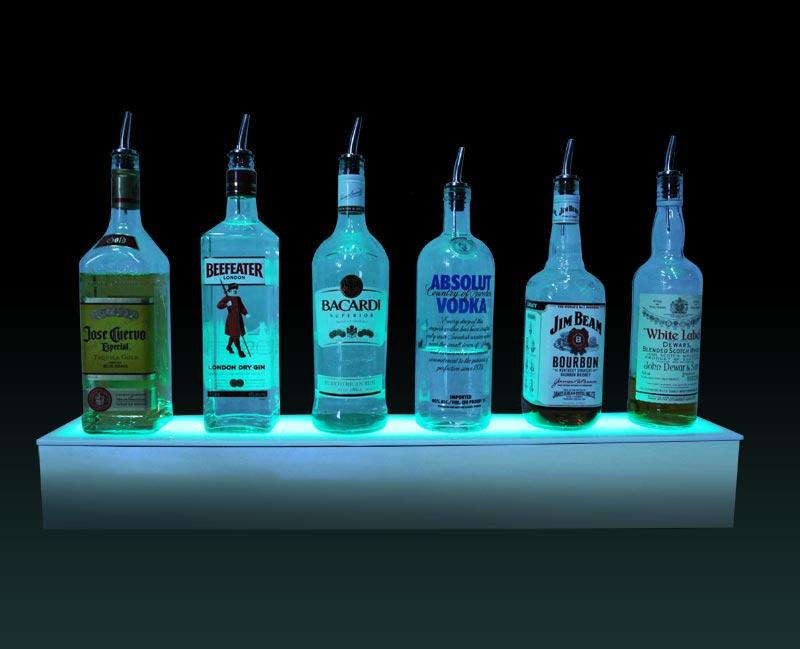 BarConic® LED Liquor Bottle Display Shelf - Polished Mirrored Metal 1 Step - Several Lengths