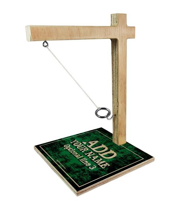 ADD YOUR NAME Tabletop Ring Toss Game - Green Grunge