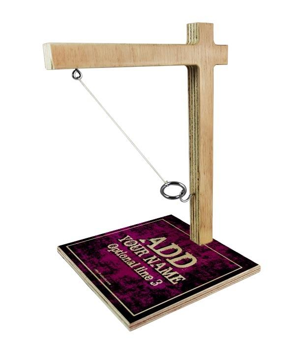 ADD YOUR NAME Tabletop Ring Toss Game - Pink Grunge