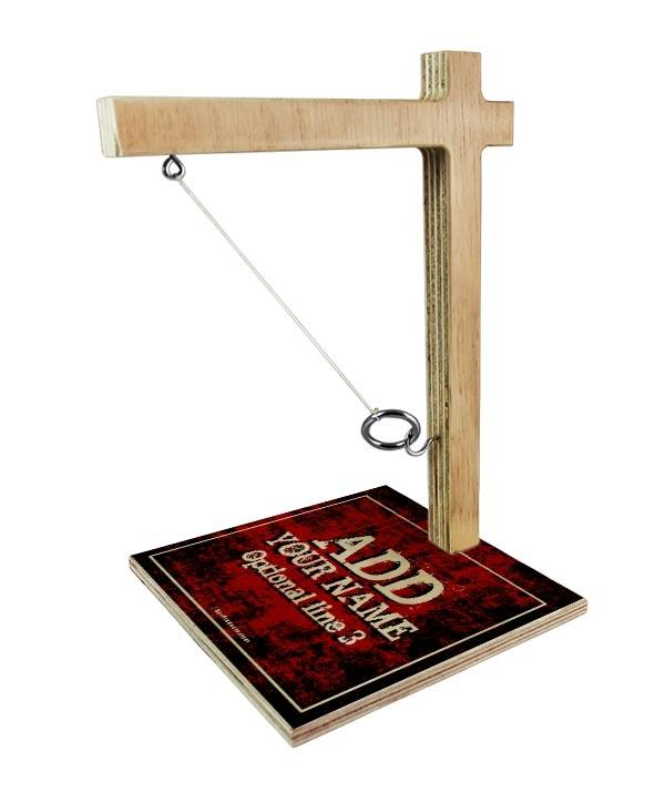 ADD YOUR NAME Tabletop Ring Toss Game - Red Grunge