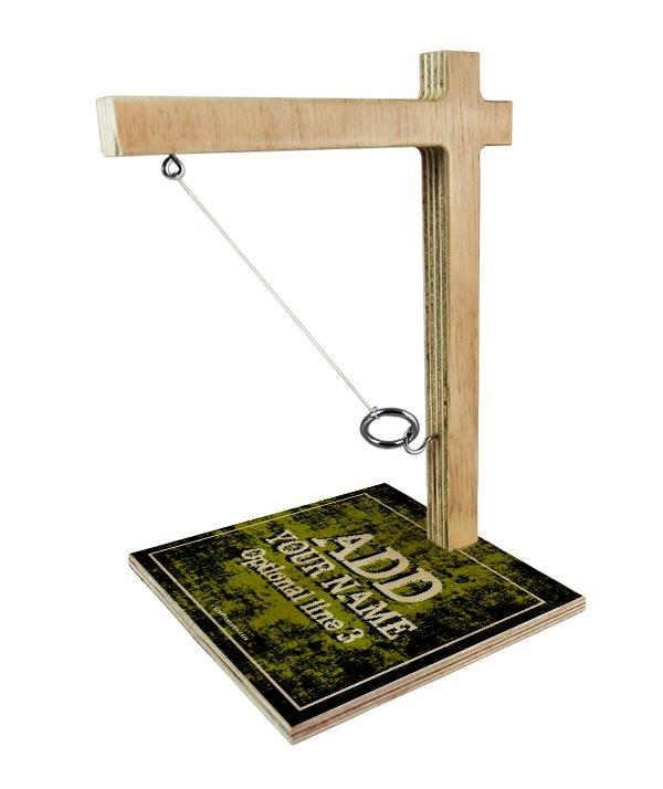 ADD YOUR NAME Tabletop Ring Toss Game - Gold Grunge