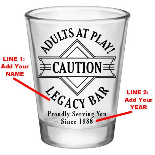 Customizable 1.75 oz. Clear Shot Glass- Adults At Play- Caution- AYN