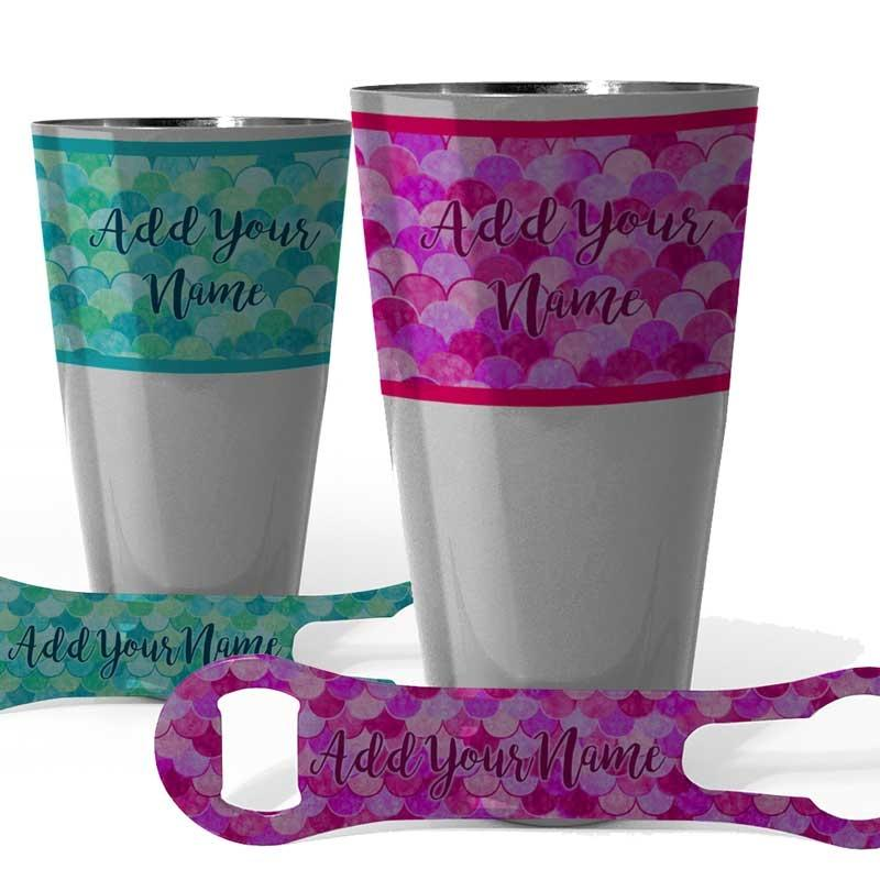 Printed Cocktail Shaker and V-Rod® Bar Set - Mermaid - Color Options