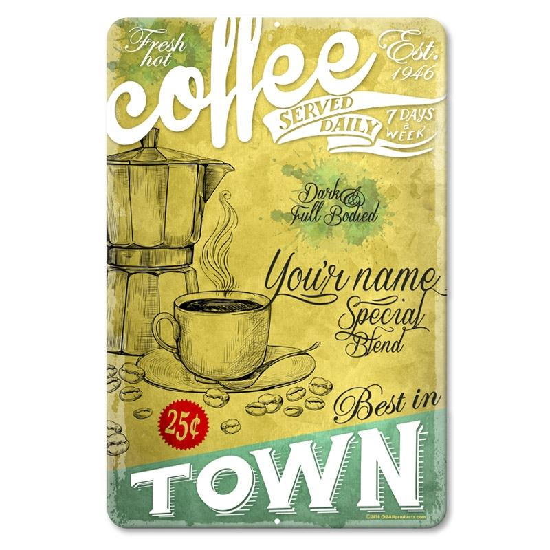"Fresh Hot Coffee - CUSTOMIZABLE Vintage Metal Bar Sign - 12"" x 18"""