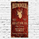 "CUSTOMIZABLE Large Vintage Wooden Holiday Bar Sign - Reindeer Aviation - 11 3/4"" x 23 3/4"""