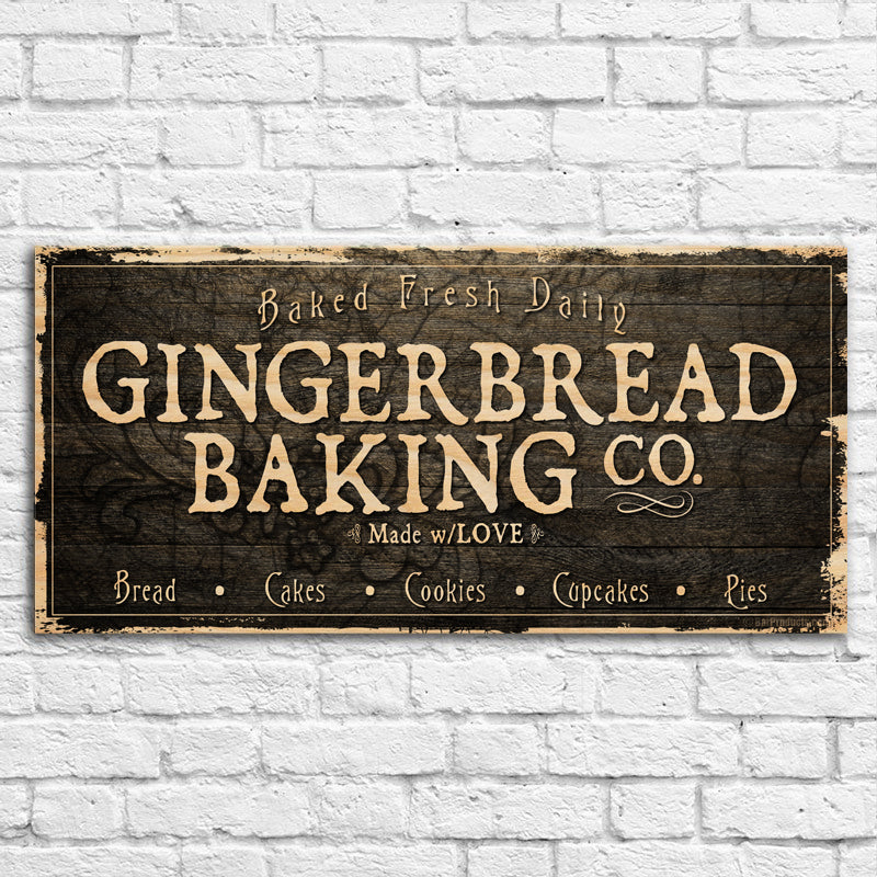 "Large Vintage Wooden Holiday Bar Sign - Gingerbread Bakery - 11 3/4"" x 23 3/4"""