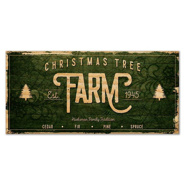 "CUSTOMIZABLE Large Vintage Wooden Holiday Bar Sign - Christmas Tree Farm - 11 3/4"" x 23 3/4"""