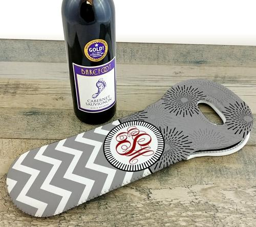 CUSTOMIZABLE Wine Tote - Monogram Design - Gray Sunburst // Chevron