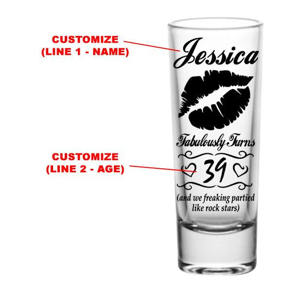 CUSTOMIZABLE - 2oz Tall Clear Shot Glass - Lips