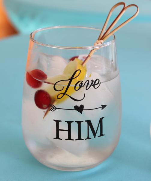 Love Him, Love Her Stemless Wine Glass Set
