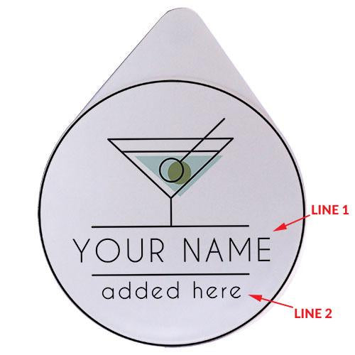 ADD YOUR NAME - Custom Glass Rimmer Lid - Martini