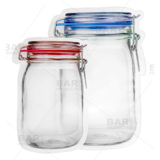 Zipper Cocktail Bags - Mason Jar Design - Compare Sizes